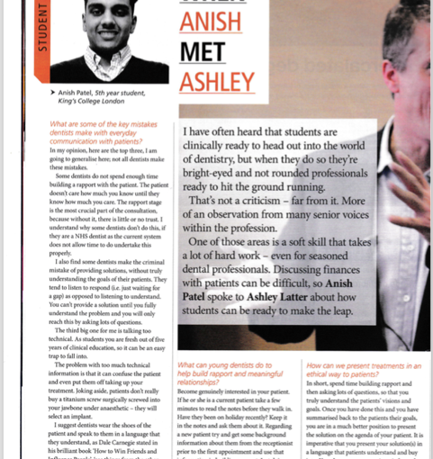 BRITISH DENTAL ASSOCIATION – WHEN ANISH MET ASHLEY